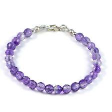 "Semi-Precious 6mm Gemstone Amethyst Faceted Round Beads 7.5"" Handmade Bracelet"