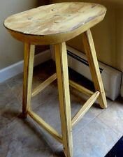 1975 Vintage Handpainted wooden YELLOW STOOL-PRIMITIVE REPROD. - CHALK PAINT