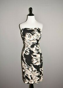 BANANA REPUBLIC NEW $130 Black Abstract Floral Linen Strapless Dress Size 6