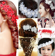 Bridal Wedding Flower Pearl Crystal Hair Comb Headband Accessories Headpiece CH