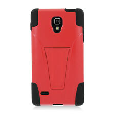 LG Optimus L9 Optiumus 4G Advanced HYBRID KICK STAND Rubber Case Cover Red Black