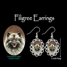 Keeshond Dog - Silver Filigree Earrings Jewelry