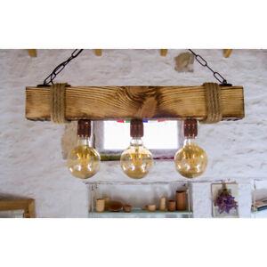 NERO-Rustic Chandelier Aged Wood Ceiling Pendant Light Vintage Unique Design