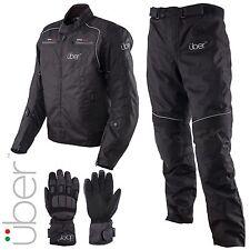 Uber Urban Short Motorcycle Waterproof Textile Black Jacket Pants Gloves