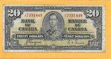 1937 BANK OF CANADA 20 DOLLAR BILL J/E7331448