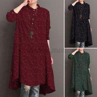 UK Womens Long Sleeve Floral Printed Shirt Dress Casual Loose Kaftan Tops Blouse