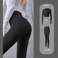 Yoga Fitness TOP Longsleeve Sport Leggings Set Trainingsanzug Langarmshirt Damen