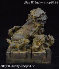 "6""Rare Old China Tibet Bronze 7 Foo Fu Guardion Lion Dynasty Seal Stamp Signet"
