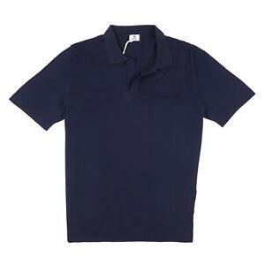 Borrelli Napoli Navy Blue Knit Extrafine Cotton Polo Shirt XL (Eu 54) NWT $450