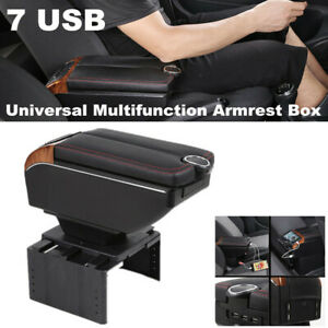 7 USB Charge Car SUV Dual Opening Armrest Box Central Console Cup Holder Storage