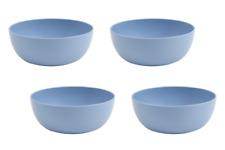 """Set of 4 Microwave Safe Large Bowls Matte Blue BPA-FREE Plastic 6.75"""" Wide 38oz"""