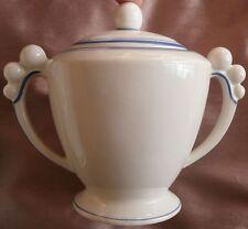 """Sucrier art déco des années 30 - Anses """" BOULES """" - Porcelaine blanche & bleue"""