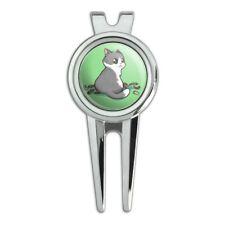 Kawaii Cute Cat with Bird Feathers Golf Divot Repair Tool and Ball Marker