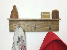 COAT RACK with shelf - Solid Oak - 33cm wide 3 hooks - Dark Oak wood stain - UK