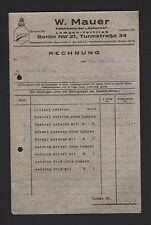 BERLIN, Rechnung 1926, W. Mauer Fabrikant der Aeterna