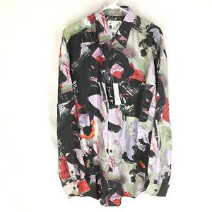 GOOUCH Men's L Long Sleeve Shirt Silk Button-Up 90s Abstract Art NWT VTG