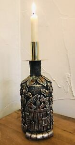 Fairy House Candle Holder. Hand Decorated Bottle. Gothic style.