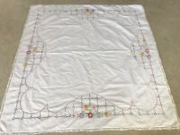 "Antique Vintage Embroidered 35"" Table Square, Floral and Lace Design"
