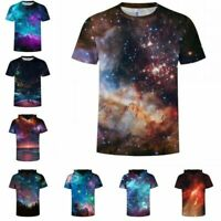Nebula Galaxy Space 3D Printed Womens Mens Crew Graphic T-Shirts Blouse Tee Tops