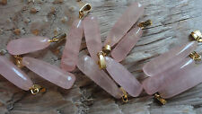 "Rounded Rose Quartz Stone DROPS C (pkg 12) hamilton gold top approx 3/8""-1"" long"