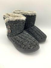 NEW Dearfoams Sweater Knit 2-Button Boot Slippers Womens Small 5-6 Black
