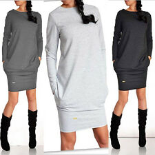 UK Womens Pockets Long Sleeve Jumpers Tops Ladies Bodycon Casual Tunic Dresses