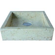 WOHNFREUDEN Marmor Aufsatz-Waschbecken PERAHU 30 cm creme klein Bad Gäste WC