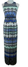 Donna Morgan Maxi Dress Long Size 2 Sleeveless Boho Aztec Side Slit Blue Mint