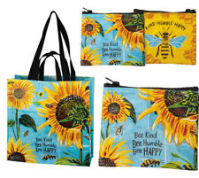 PBK BEE KIND HUMBLE HAPPY MARKET TOTE BAG or ZIPPERED COIN POUCH w SUNFLOWERS