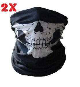 2X Black Microfiber Seamless Skull Face Mask Tube style washable 16 +functions