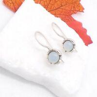 Chalcedon rund grün blau Blüte Design Ohrringe Ohrhänger 925 Sterling Silber neu