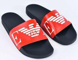 Emporio Armani Mens Mono Logo Sandals Flip Flop Slides Sliders Size Size 9 Uk