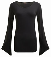 Spiral Direct GOTHIC ELEGANCE - V Neck Goth Sleeve Top Goth/Rock/Metal/Women/Top