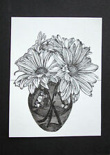 VASE OF FLOWER - PEN DRAWING - ART ORIGINAL - STUDIO ANGELA
