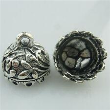 (98712-10X) Tibetan Silver Plants Leaf Alloy 12mm Tassel Cap Filigree Pendant