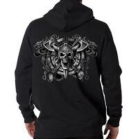 Viking Skull Axes Crest Hooded Sweatshirt Hoodie