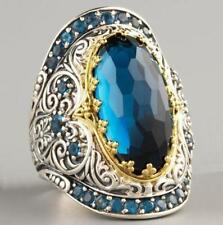 Vintage Turkish 925 Silver Sapphire Wedding Engagement Ring Jewelry Wholesale