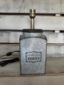 Country Rustic Galvanized Tin Coffee Accent Table Lamp