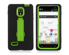 LG Optimus L9 T-Mobile P769 Hybrid Armor Case Skin Cover w/ Stand Black Green