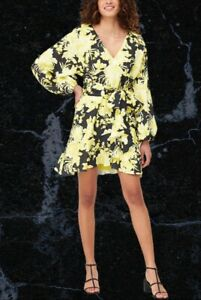 V By Very Blouson Sleeve Belted Skater Dress Yellow Black Womens Size 14 Summer