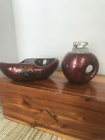 Vintage Cigarette Lighter Ashtray Set Burgundy Neat Set
