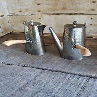 D&H EPNS Silverplate Tea Coffee Set Hammered Teapot Creamer Art Deco Nouveau