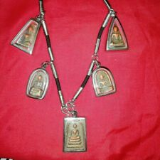 Necklace Buddha 5 Benjapakee Phra Somdej Magic Thai Amulet Charm Rare Real Old
