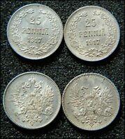 25 Pennia 1917 S x 2 Different Finland / Russia Silver coins KM #6.2&19 - (7486)