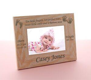 Personalised Engraved Wooden Photo Frame New Baby Gift Keepsake Christening