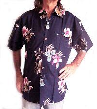 Camisa Hawaiana Oscuro Azul con Hibisco Flores Algodón, L, 132cm