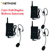 3pcs Full Duplex Bluetooth Football Soccer Referee Intercom Interphone Headset