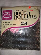 """NOS in Package Vintage Goody Medium 11/16"""" Ball Tip Brush Rollers + Picks Qty 14"""