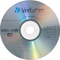 10 Verbatim Blank DVD+RW 4x Logo Branded 4.7GB Rewritable DVD Disc 94834