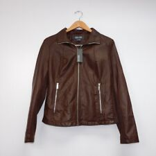 Kenneth Cole Leather Jacket Women's Brown Size M